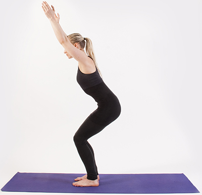 utkatasana powerful/awkward/chair pose  the 20 minute yogi